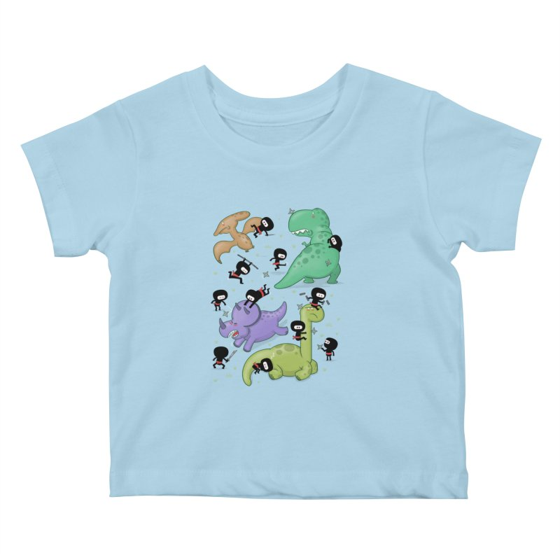 Ninjas vs Dinosaurs Kids Baby T-Shirt by The Art of Anna-Maria Jung