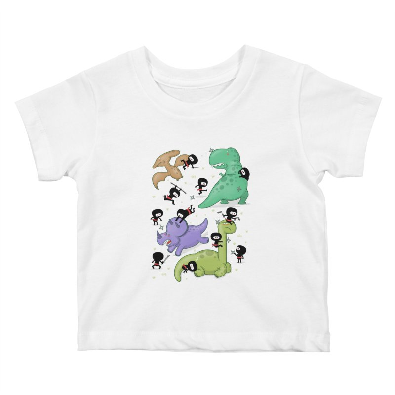 Ninjas vs Dinosaurs Kids Baby T-Shirt by The Art of Anna-Maria Jung