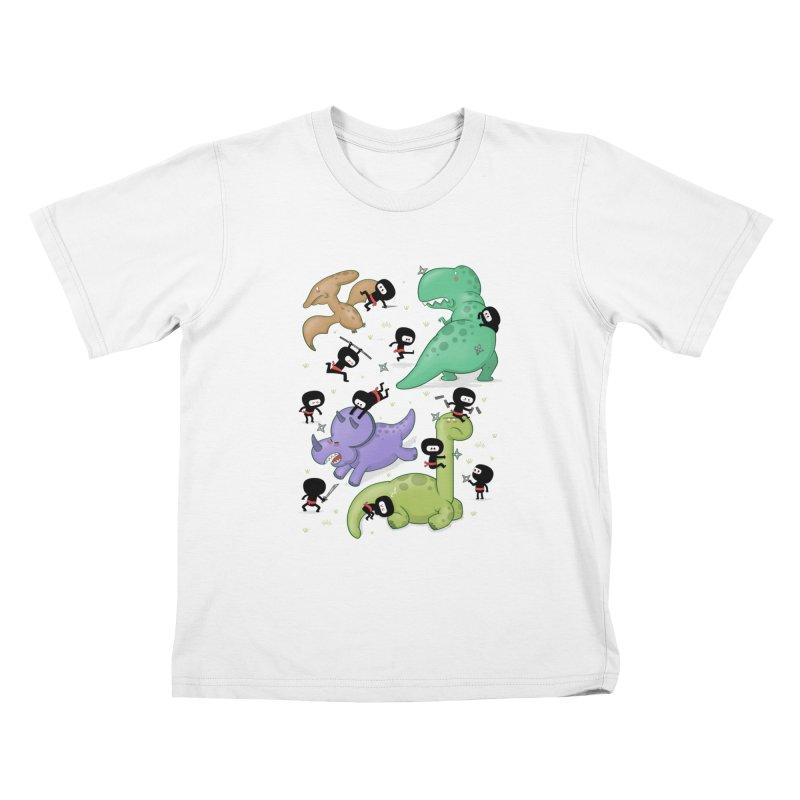 Ninjas vs Dinosaurs Kids T-Shirt by The Art of Anna-Maria Jung