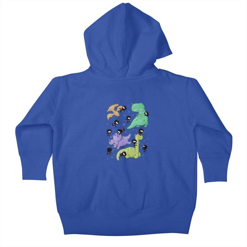 Ninjas vs Dinosaurs Kids Baby Zip-Up Hoody by The Art of Anna-Maria Jung