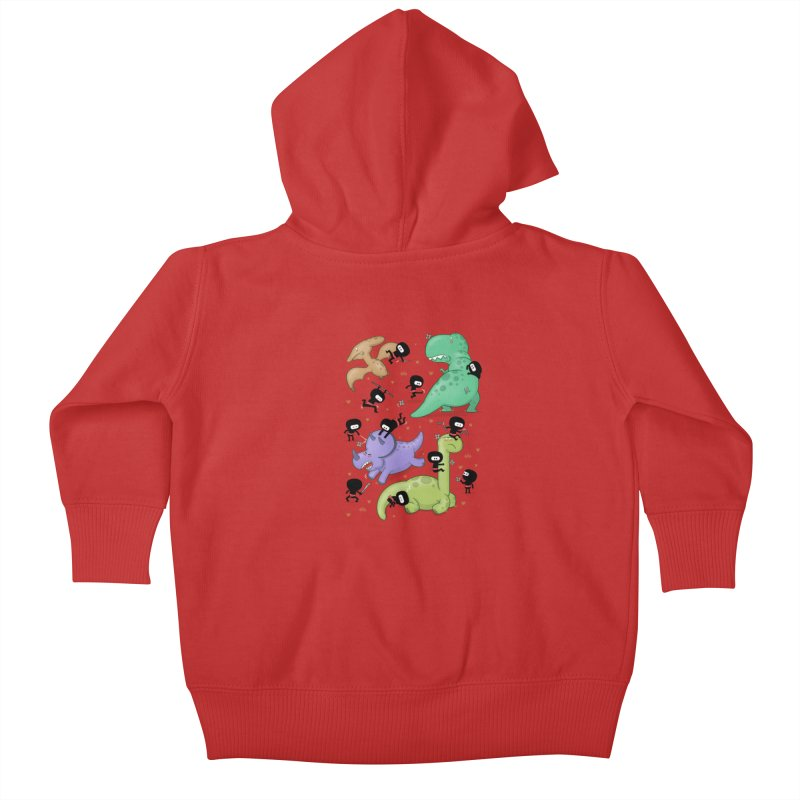 Ninjas vs Dinosaurs Kids Baby Zip-Up Hoody by The Art of Anna-Maria Jung