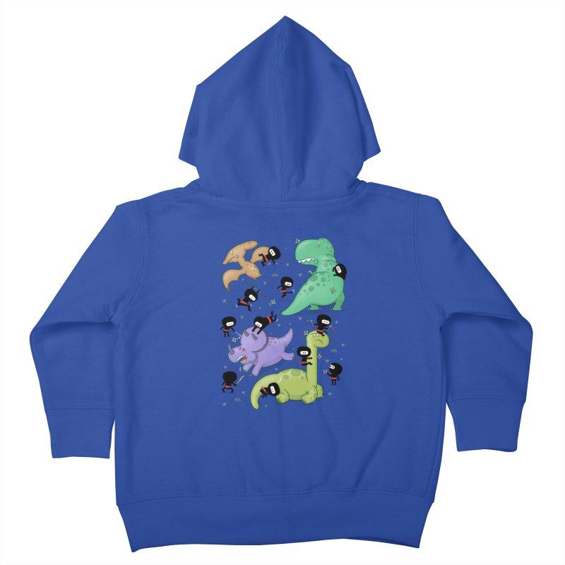 Ninjas vs Dinosaurs Kids Toddler Zip-Up Hoody by The Art of Anna-Maria Jung