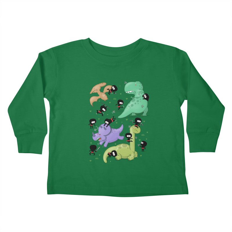 Ninjas vs Dinosaurs Kids Toddler Longsleeve T-Shirt by The Art of Anna-Maria Jung
