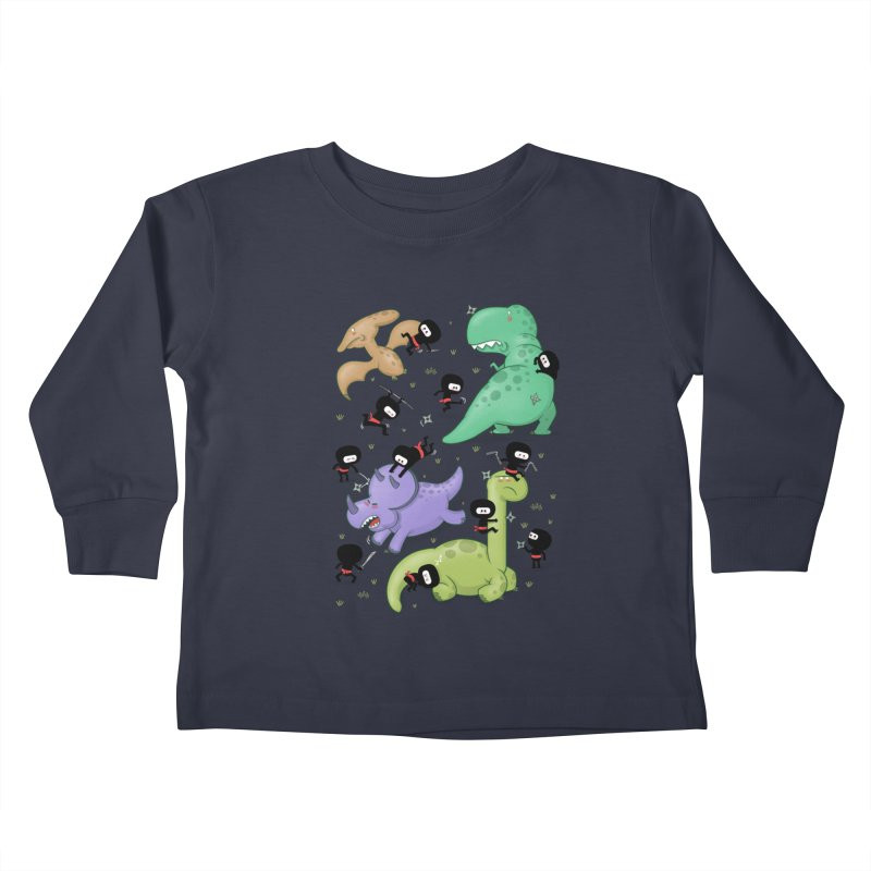 Ninjas vs Dinosaurs Kids Toddler Longsleeve T-Shirt by The Art of Anna-Maria Jung