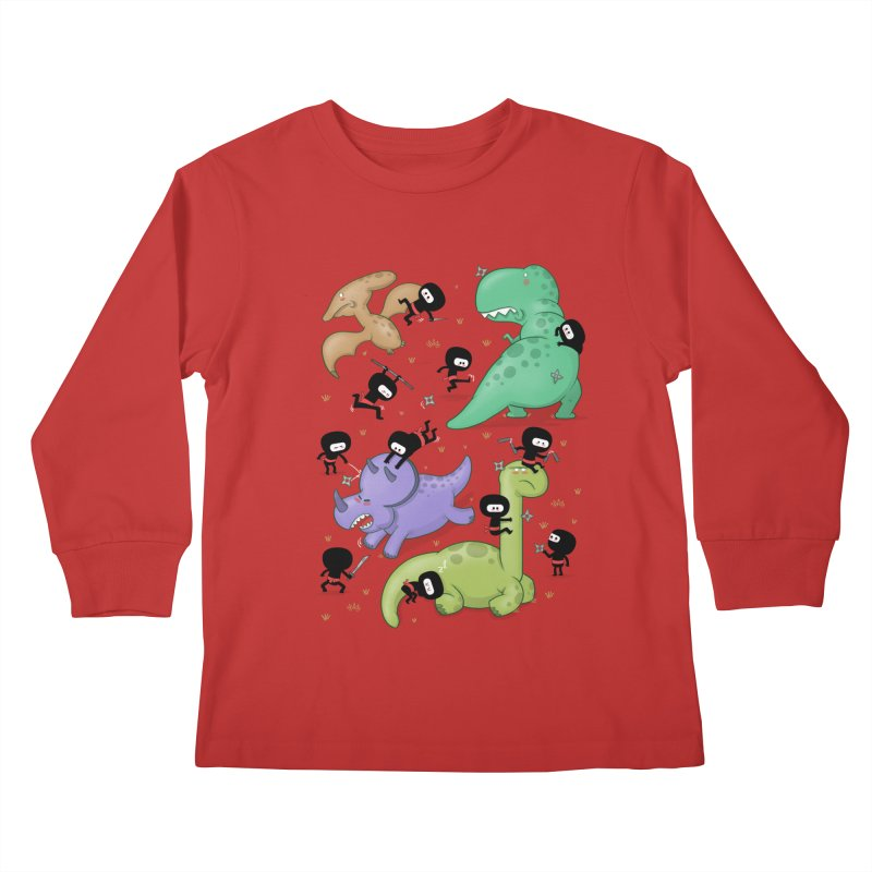 Ninjas vs Dinosaurs Kids Longsleeve T-Shirt by The Art of Anna-Maria Jung