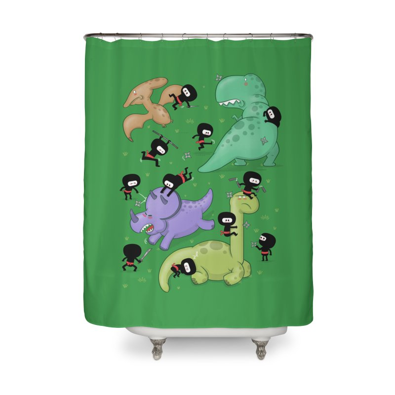 Ninjas vs Dinosaurs Home Shower Curtain by The Art of Anna-Maria Jung