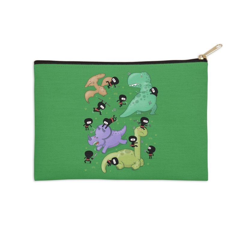 Ninjas vs Dinosaurs Accessories Zip Pouch by The Art of Anna-Maria Jung