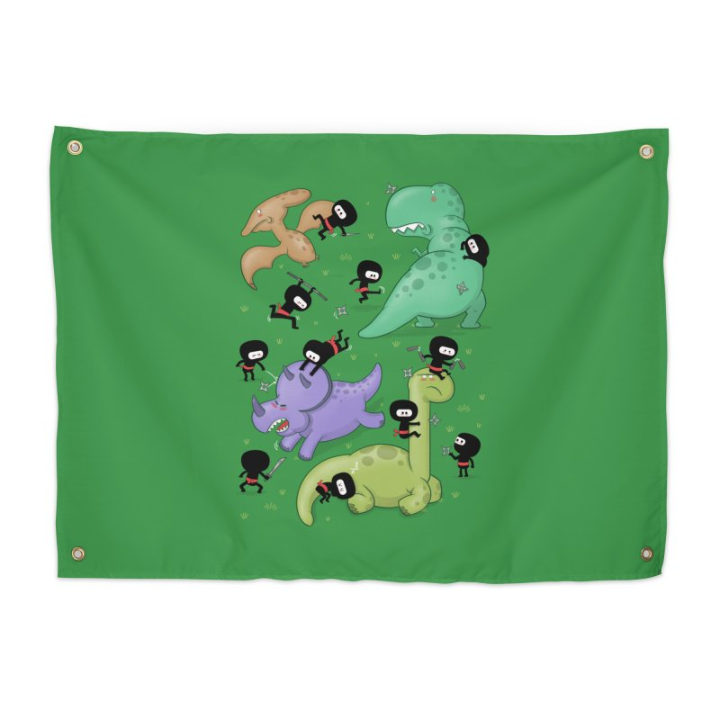 Ninjas vs Dinosaurs Home Tapestry by The Art of Anna-Maria Jung