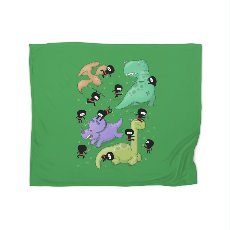 Ninjas vs Dinosaurs Home Blanket by The Art of Anna-Maria Jung