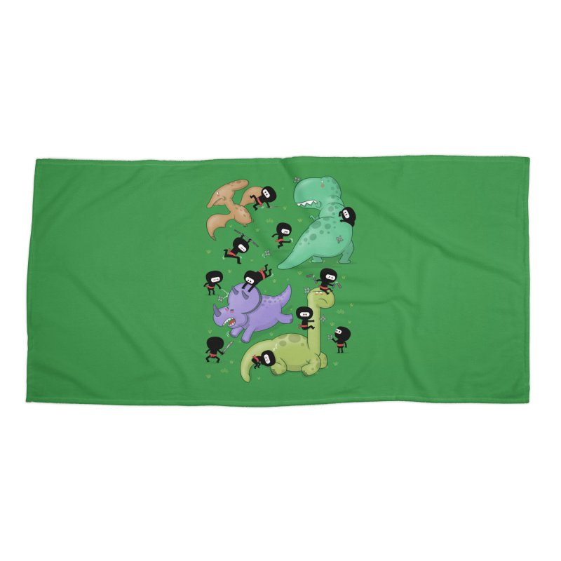 Ninjas vs Dinosaurs Accessories Beach Towel by The Art of Anna-Maria Jung