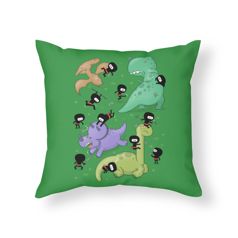 Ninjas vs Dinosaurs Home Throw Pillow by The Art of Anna-Maria Jung