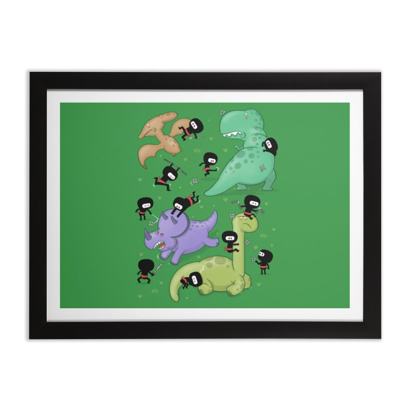 Ninjas vs Dinosaurs Home Framed Fine Art Print by The Art of Anna-Maria Jung
