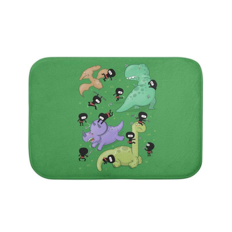Ninjas vs Dinosaurs Home Bath Mat by The Art of Anna-Maria Jung