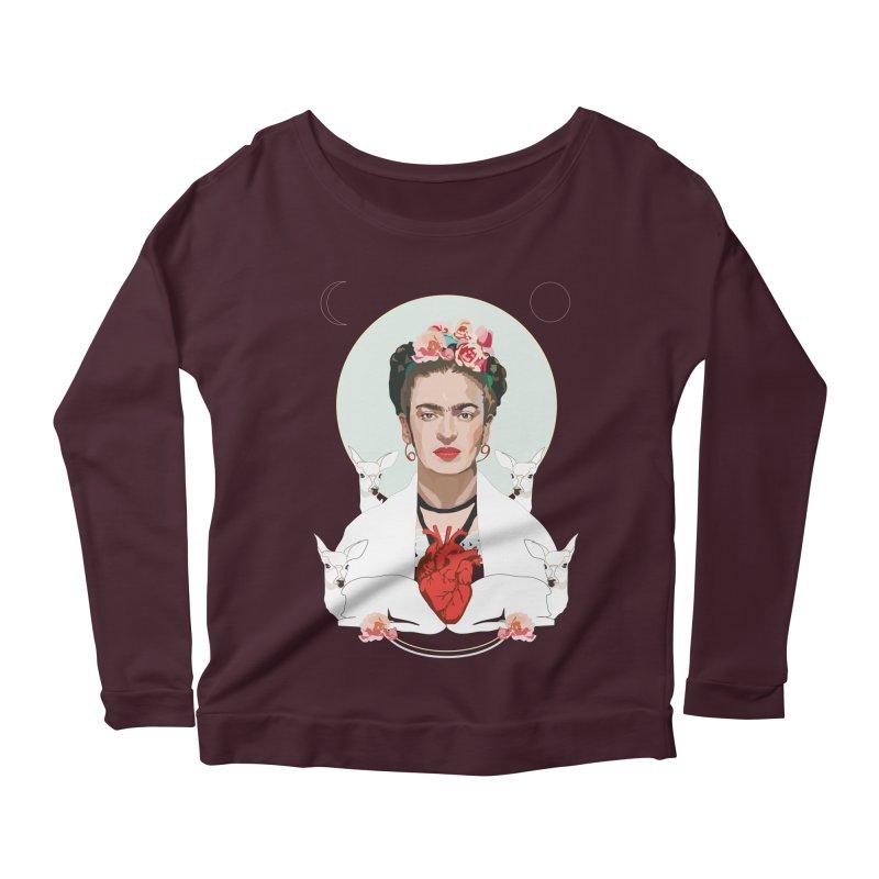 Frida Kahlo (Light) Women's Longsleeve Scoopneck  by Anna McKay's Artist Shop