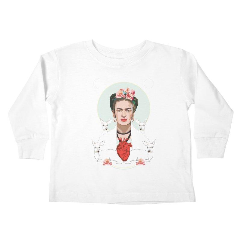 Frida Kahlo (Light) Kids Toddler Longsleeve T-Shirt by Anna McKay's Artist Shop