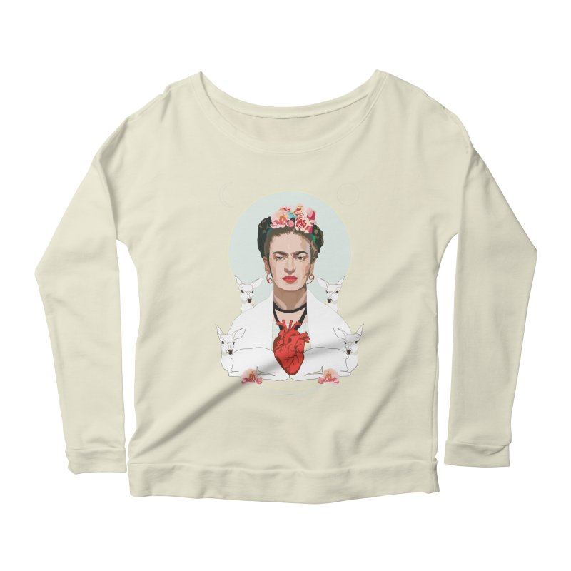 Frida Kahlo (Light) Women's Longsleeve Scoopneck  by Anna McKay's Artist Shop