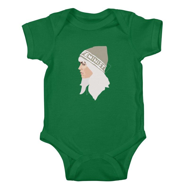 Feminist (Silver) Kids Baby Bodysuit by Anna McKay's Artist Shop