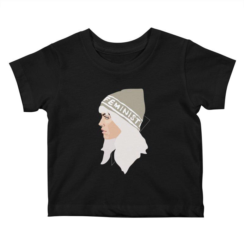 Feminist (Silver) Kids Baby T-Shirt by Anna McKay's Artist Shop