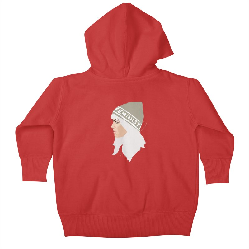 Feminist (Silver) Kids Baby Zip-Up Hoody by Anna McKay's Artist Shop