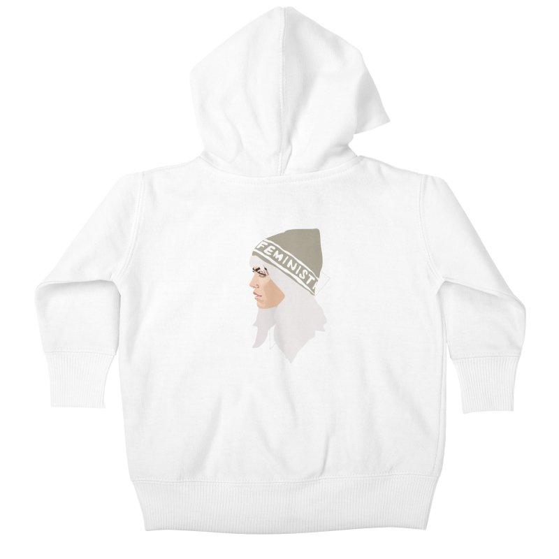 Feminist (Silver) Kids Baby Zip-Up Hoody by Anna McKay's Artist Shop