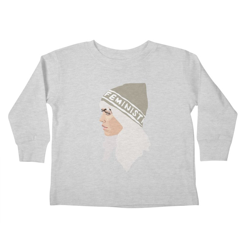 Feminist (Silver) Kids Toddler Longsleeve T-Shirt by Anna McKay's Artist Shop