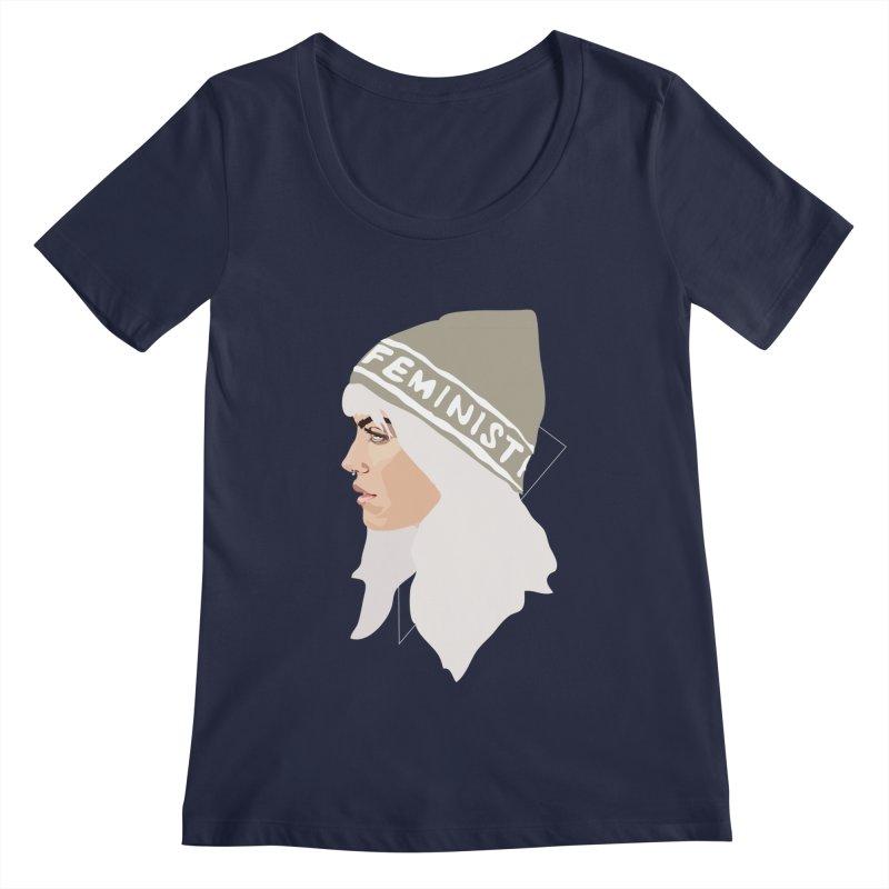 Feminist (Silver) Women's Scoopneck by Anna McKay's Artist Shop
