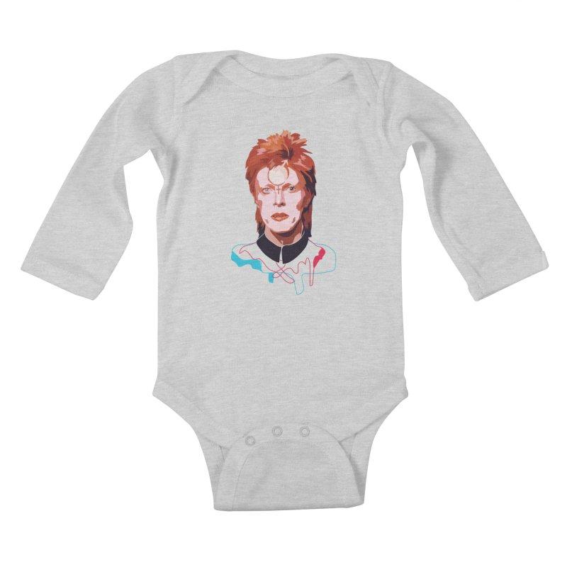 Bowie Kids Baby Longsleeve Bodysuit by Anna McKay's Artist Shop