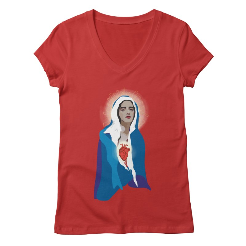 Virgin of Guadalupe Women's V-Neck by Anna McKay's Artist Shop