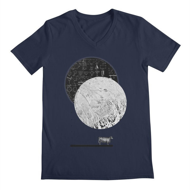Calculating a Jump Over the Moon Men's V-Neck by Anna Pietrzak