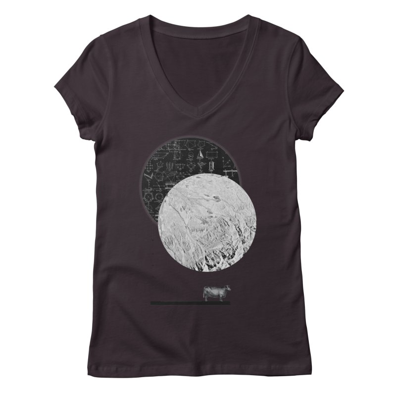 Calculating a Jump Over the Moon Women's V-Neck by Anna Pietrzak