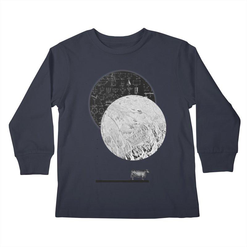 Calculating a Jump Over the Moon Kids Longsleeve T-Shirt by Anna Pietrzak