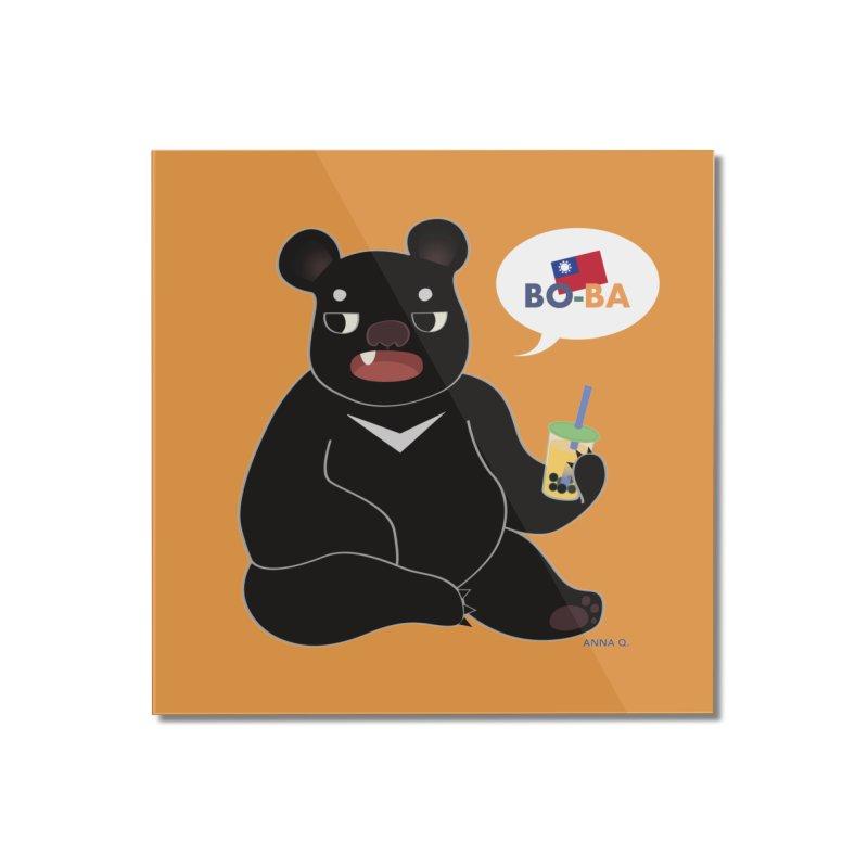 Boba Bear Home Mounted Acrylic Print by Anna Art X Design