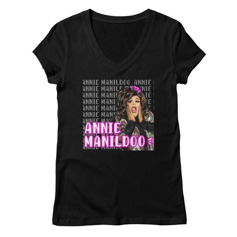 Annie classic logo Women's V-Neck by anniemanildoo's Artist Shop
