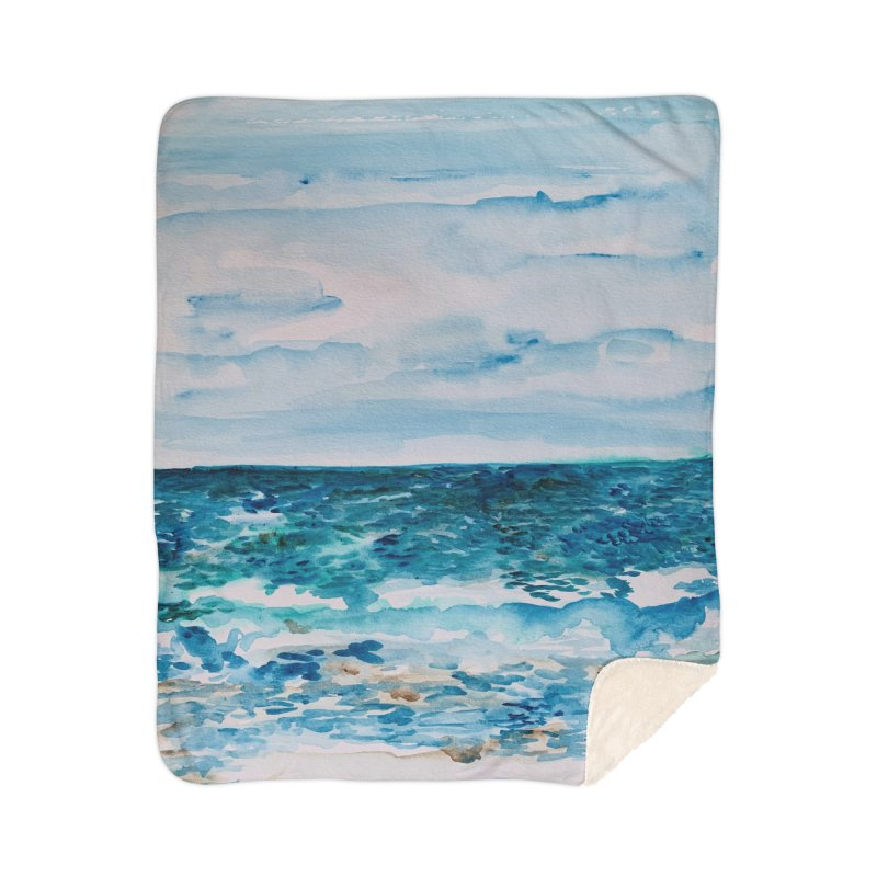 Cabo Beach Mexico Watercolor #1 Home Blanket by anoellejay's Artist Shop