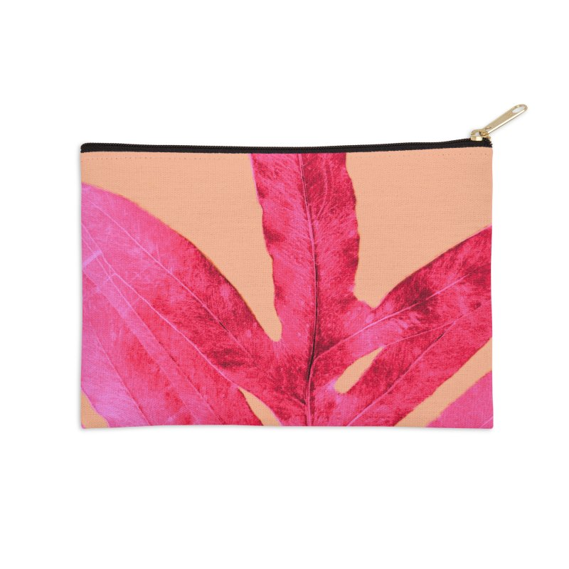 Peach Pink Ferns, Living Coral Accessories Zip Pouch by anoellejay's Artist Shop