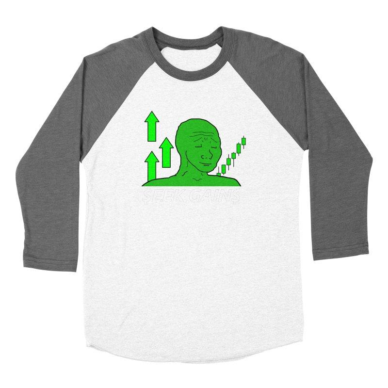 Seek Gains Wojak Women's Longsleeve T-Shirt by L33T GUY'S CRYPTO TEES