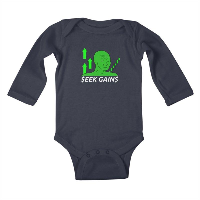 Seek Gains Wojak Kids Baby Longsleeve Bodysuit by L33T GUY'S CRYPTO TEES