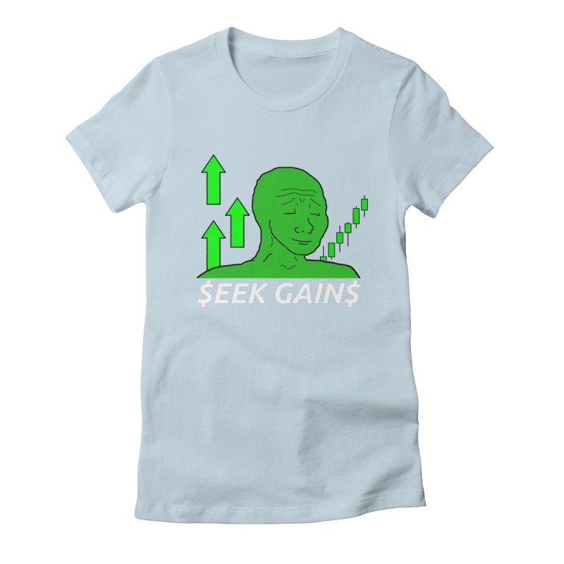Seek Gains Wojak Women's T-Shirt by L33T GUY'S CRYPTO TEES