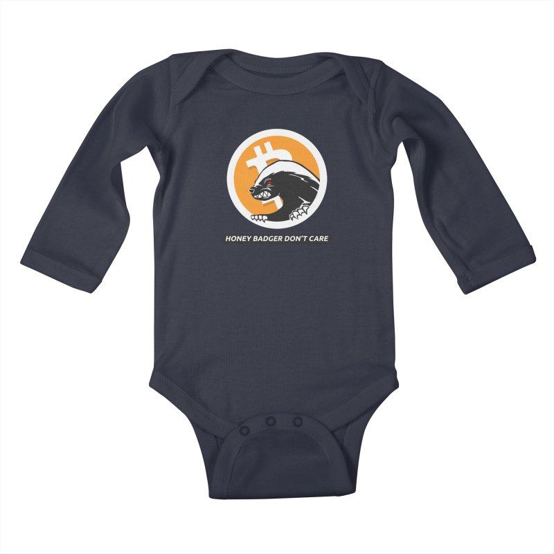 Honey Badger Don't Care Kids Baby Longsleeve Bodysuit by L33T GUY'S CRYPTO TEES