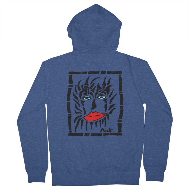Lion Face Men's French Terry Zip-Up Hoody by antartant's Artist Shop
