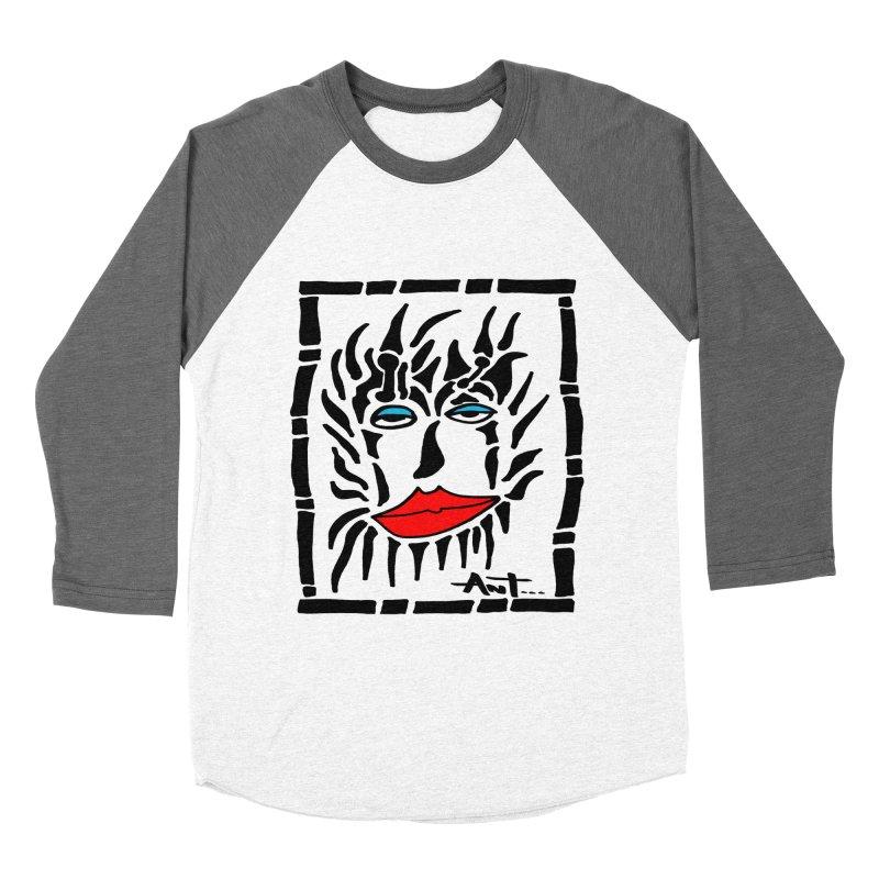 Lion Face Men's Baseball Triblend T-Shirt by antartant's Artist Shop