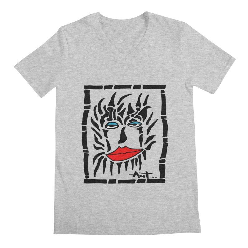 Lion Face Men's Regular V-Neck by antartant's Artist Shop