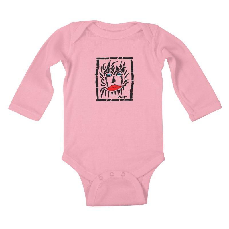 Lion Face Kids Baby Longsleeve Bodysuit by antartant's Artist Shop