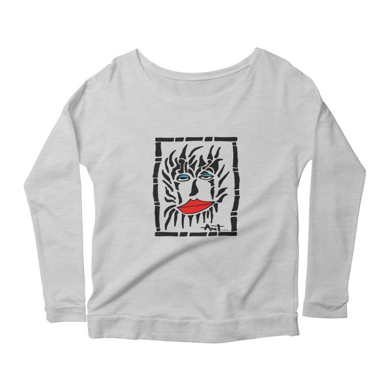 Lion Face Women's Scoop Neck Longsleeve T-Shirt by antartant's Artist Shop