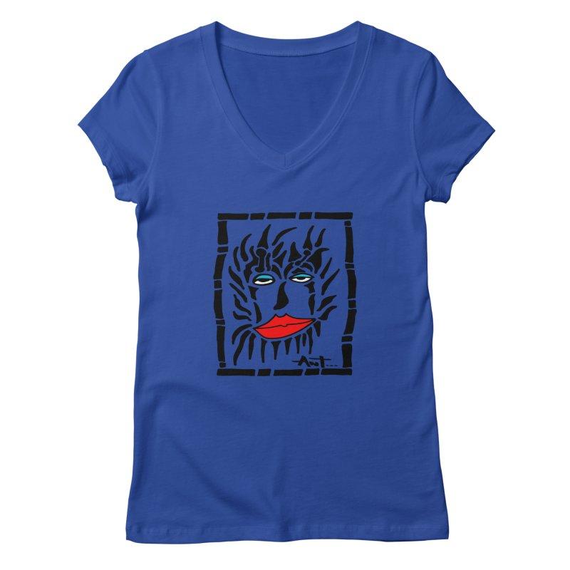 Lion Face Women's Regular V-Neck by antartant's Artist Shop