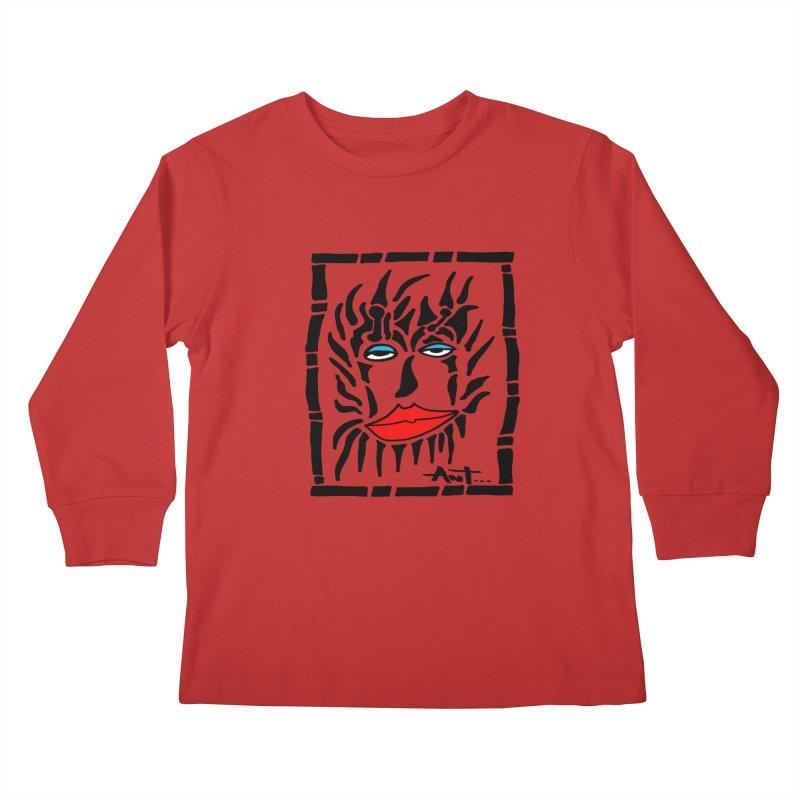 Lion Face Kids Longsleeve T-Shirt by antartant's Artist Shop