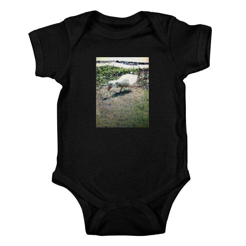 Digital Duckling in Kids Baby Bodysuit Black by Anthony Inswasty