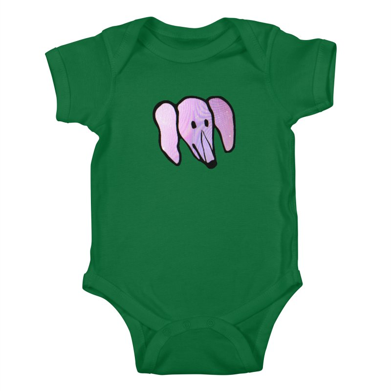 Snoot in Kids Baby Bodysuit Kelly Green by Anthony Inswasty