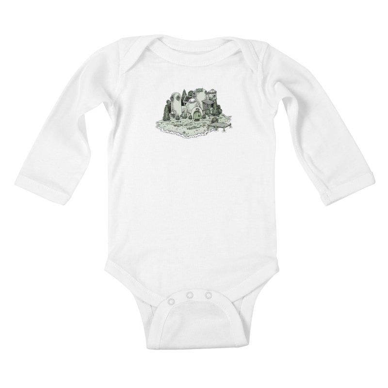 Island Getaway Kids Baby Longsleeve Bodysuit by Anthony Woodward's Artist Shop
