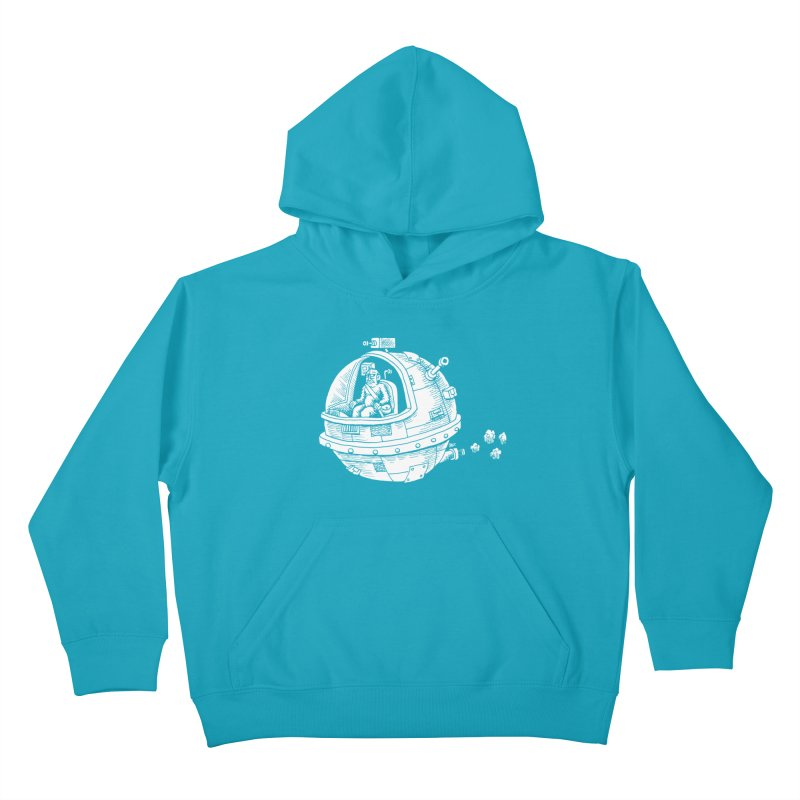 Spacefaring Yeti is in Space Kids Pullover Hoody by Anthony Woodward's Artist Shop